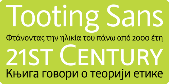 Tooting Sans font family from Hamburgerfonts